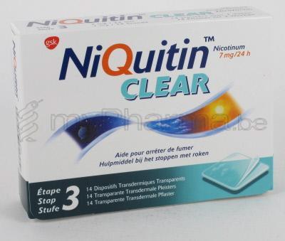 pharmacie parent sprl produits arr ter de fumer patches niquitin clear 7 mg 14 patches. Black Bedroom Furniture Sets. Home Design Ideas